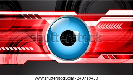 Dark black blue red Light Abstract Technology background for computer graphic website and internet, circuit board. eye