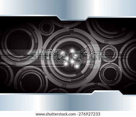 Dark black color Light Abstract Technology background for computer graphic website internet. circuit. infographics. silver. metal. star