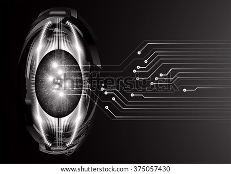 Dark black color Light Abstract Technology background for computer graphic website internet and business. circuit. vector illustration. infographics. motion move blur.neon. pixel. eye scan virus - stock vector