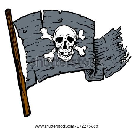 Dark Black pirate flag with skull - stock vector