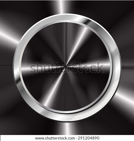 dark black silver abstract technology circle button template with metal texture. Technology background for computer graphic website internet and business. text box. alloys, steel, aluminum - stock vector