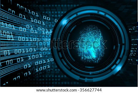 dark blue Abstract digital conceptual technology security background with lock. computer technology website internet web. infographics. fingerprint. Finger-print scanning. Hand print. - stock vector