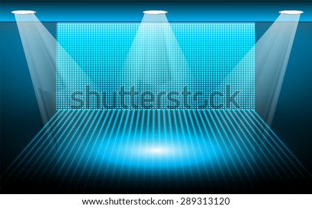 Dark blue Abstract light lamps background for Technology computer graphic website internet and business.. Screen on stage. Vector illustration.Spot Effect. neon. point, platform, Spotlights.  - stock vector