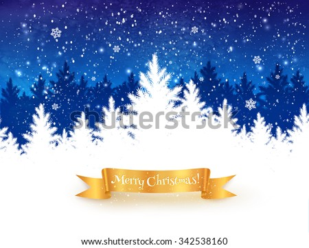 Dark blue and white Christmas trees landscape background with falling snow, spruce forest silhouette and gold ribbon banner.  - stock vector