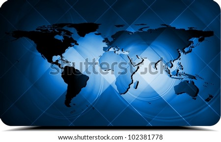 Dark blue background with world map. Eps 10 vector