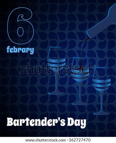 Dark blue bartender's Day card. Vector glass. - stock vector