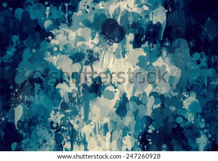 Dark blue brush stokes vector background - stock vector