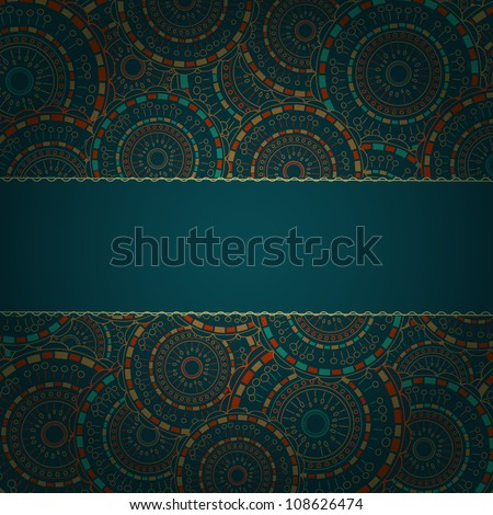 Dark Blue Card with Round Pattern and Band for Sample Text. Vector Background - stock vector
