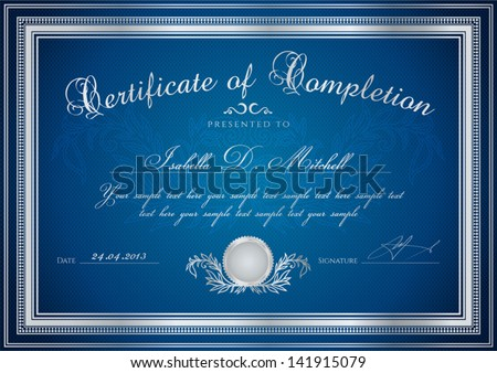 Dark blue certificate diploma completion design stock vector dark blue certificate diploma of completion design template sample background with floral yadclub Gallery