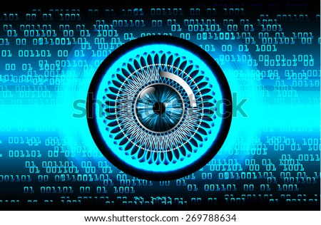 dark blue color Light Abstract Technology background for computer graphic website internet and business. circuit. vector illustration. wave. eye. eyeball. number. one. zero.