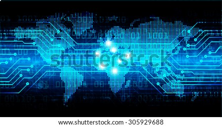 dark blue color Light Abstract Technology background for computer graphic website internet and business.circuit.vector illustration. abstract digital. infographics. motion move blur.neon. World map - stock vector