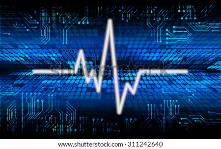 Dark blue color Light Abstract Technology background for computer graphic website internet and business. circuit. vector illustration. infographics. motion move blur.neon. pulse heart. wave - stock vector