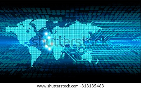 Dark blue color Light Abstract Technology background for computer graphic website internet and business. circuit. vector illustration. infographics. motion move blur.neon. World Map, Global