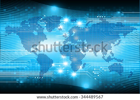 Dark blue color Light Abstract Technology background for computer graphic website internet and business.circuit.vector illustration.infographics. motion move.neon. pixel, Padlock, World Map, Global
