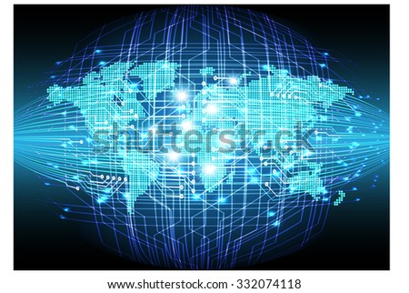 dark blue color Light Abstract Technology background for computer graphic website internet business.circuit.illustration.digital.infographics.binary code. www.vector.motion move blur. World map Global - stock vector