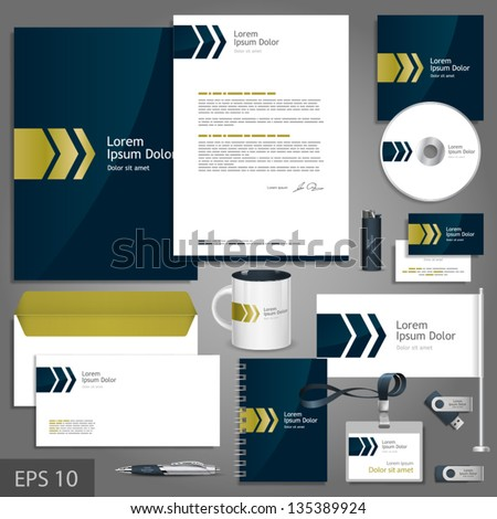 Dark blue corporate identity template with golden arrows. Vector company style for brandbook and guideline. EPS 10 - stock vector