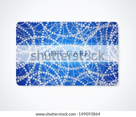 Dark blue Gift card, Business card, Discount card template with abstract silver pattern and frame. Design for voucher, coupon, invitation, ticket. Vector