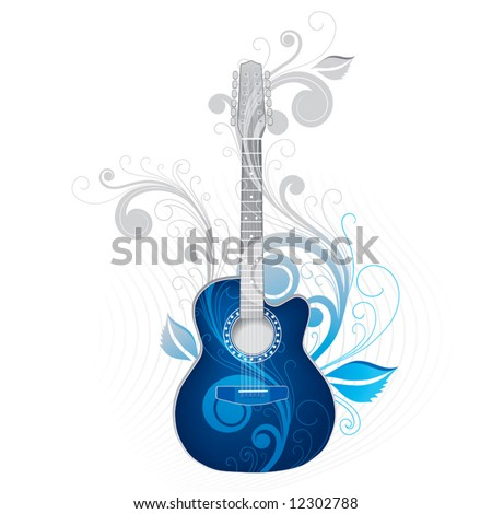Dark blue guitar - stock vector