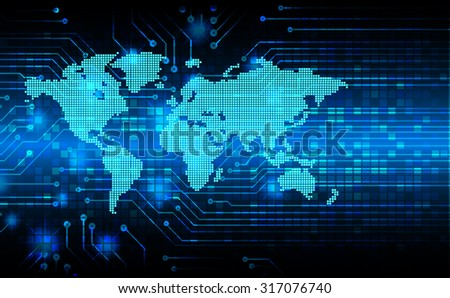 Dark blue Light Abstract Technology background for computer graphic website internet business. circuit. vector illustration. infographics. motion move blur.neon. World Map, Global.