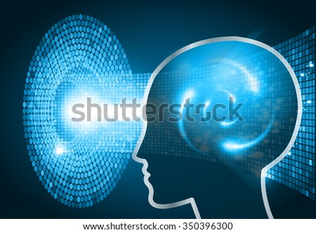 Dark blue Light Abstract Technology background for computer graphic website internet business. circuit. vector illustration. infographics. motion move blur.neon. Brainstorm, Brain. Bulb Ideas