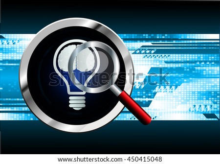 Dark blue Light Abstract Technology background for computer graphic website internet business. circuit. illustration. infographics. motion move blur.neon. Brainstorm, Brain. Bulb Ideas - stock vector