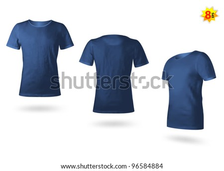 Dark blue male T-shirt template. Photo-realistic mesh design. - stock vector