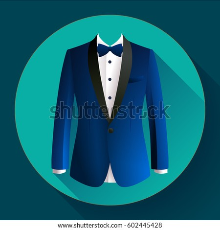 Dark blue man suit Vector flat icon