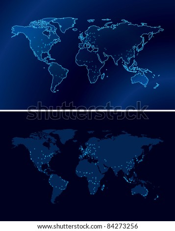 dark blue maps of the world with light of the cities - eps 10