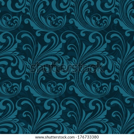 Dark blue ornamental seamless pattern background vector illustration