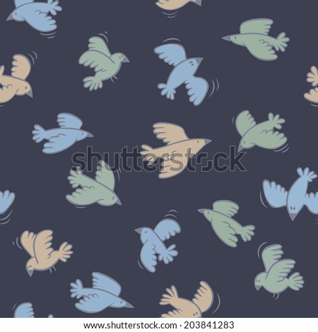 Dark blue pattern with cute flying birds. Vector illustration.