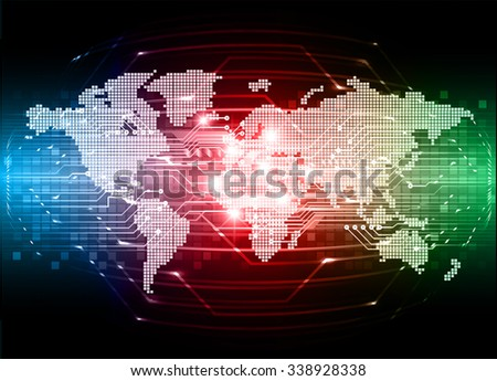 Dark blue red green Light Abstract Technology background for computer graphic website internet and business. circuit. vector illustration. infographics. motion move blur.neon. pixel. World Map, Global