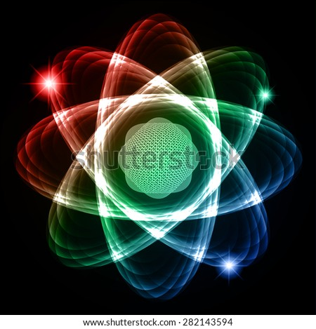 Dark blue red green Shining atom scheme. Vector illustration. dark background. digital. infographics. Abstract Technology background for computer graphic website internet and business. circuit. - stock vector