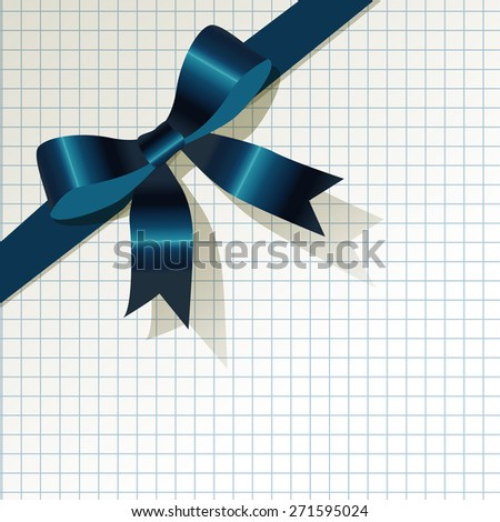 dark blue ribbon on checkered pattern background - stock vector