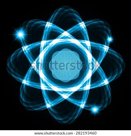 Dark blue Shining atom scheme. Vector illustration. dark background. digital. infographics. Abstract Technology background for computer graphic website internet  - stock vector