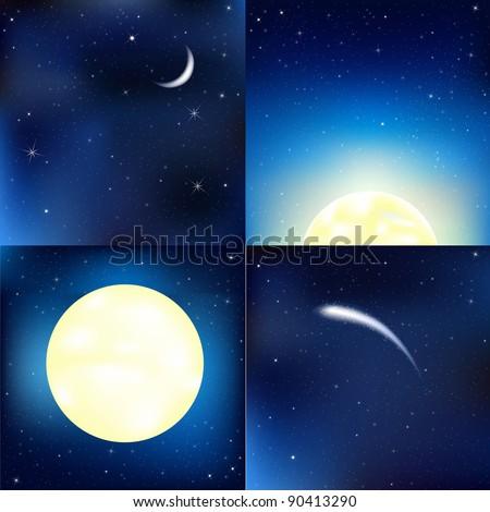 Dark Blue Sky Set, Vector Illustration - stock vector