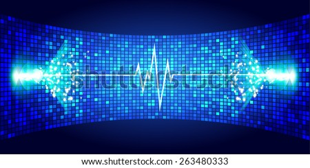Dark blue Sound wave background suitable as a backdrop for music, technology and sound projects. Blue Heart pulse monitor with signal. Heart beat.