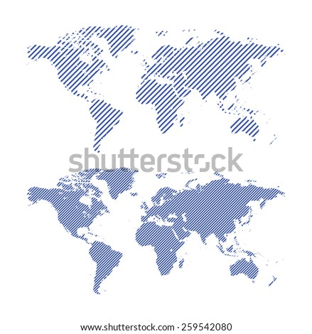 dark blue striped maps of world - vector - stock vector