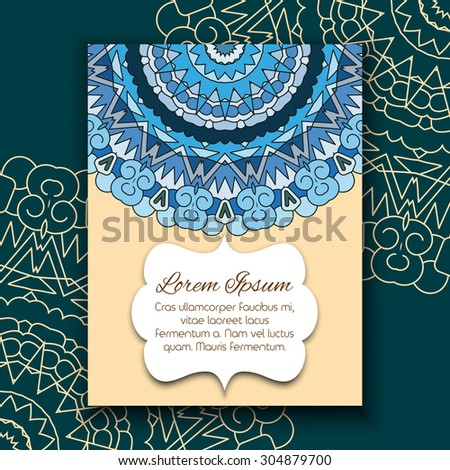 Dark blue tones template for design invitations and greeting cards. Hand drawn geometric elements of vintage patterns.  - stock vector
