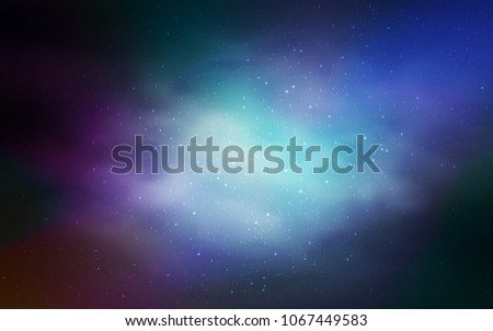 Dark BLUE Vector Background With Galaxy Stars Shining Illustration Sky On Abstract Template