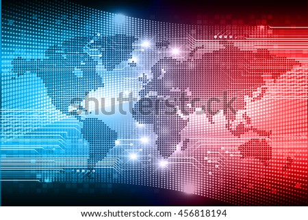 dark blue world Light Abstract Technology background for computer graphic website internet and business. circuit illustration. abstract digital. infographics. motion move blur. neon. eye - stock vector
