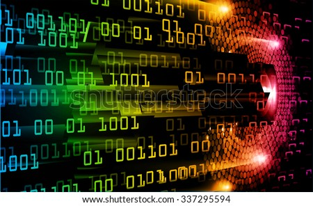 dark blue yellow green Light Abstract Technology background for computer graphic website internet and business. circuit. illustration.digital.infographics. binary code. zero one. vector.eye - stock vector
