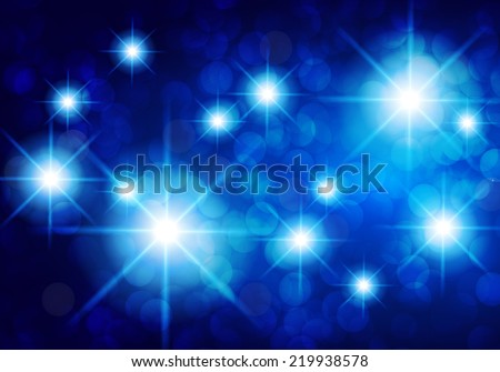 Dark blue yellow sparkling background with stars in the sky and blurry lights, illustration. Abstract, Universe, Galaxies. - stock vector
