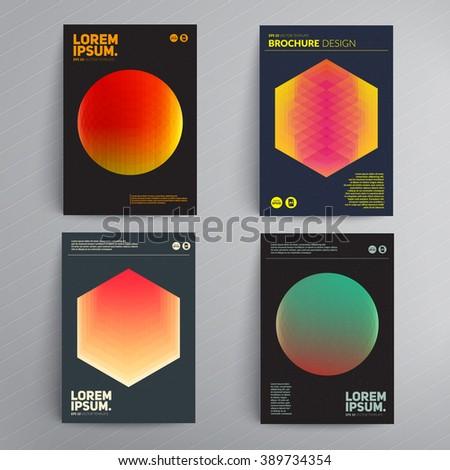 Dark brochure cover design. Vector template. - stock vector