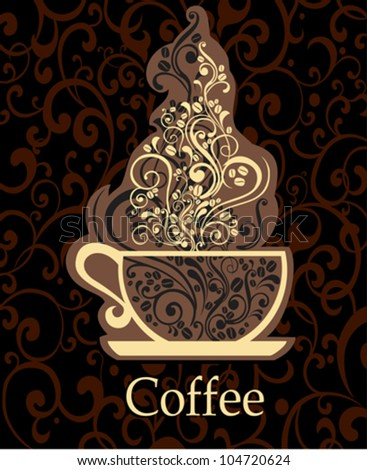 Dark brown background with Cup of coffee and place for your text. vector illustration - stock vector