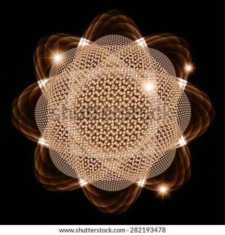 Dark brown Shining atom scheme. Vector illustration. dark background. digital. infographics. Abstract Technology background for computer graphic website internet  - stock vector