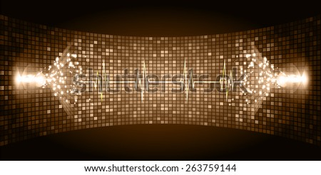 Dark brown Sound wave background suitable as a backdrop for music, technology and sound projects. Heart pulse monitor with signal. Heart beat. - stock vector