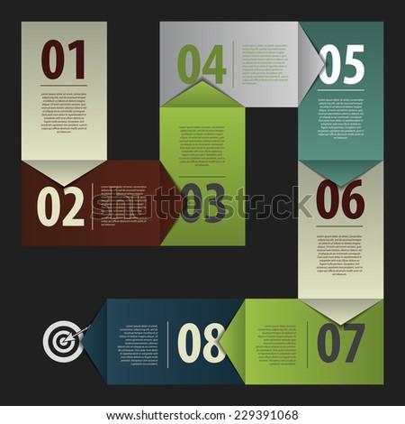 dark business vector paper progress steps template. Vector - stock vector