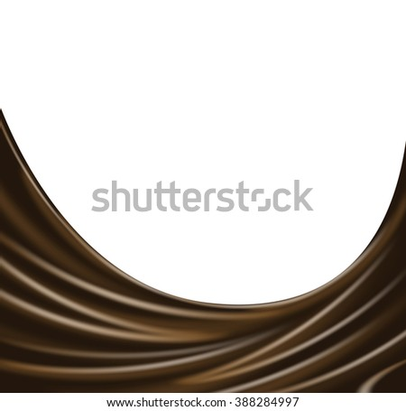 Dark chocolate wave on white background. Vector