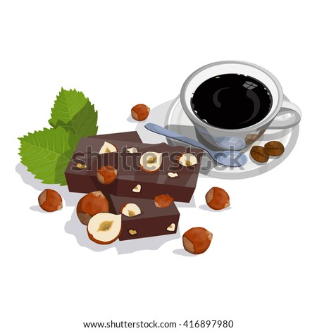 Dark Chocolate with hazelnuts. Cup of black coffee