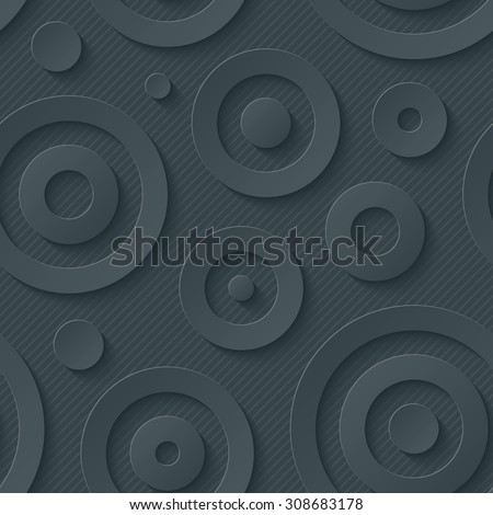 Dark circles walpaper. 3d seamless background. Vector EPS10. - stock vector